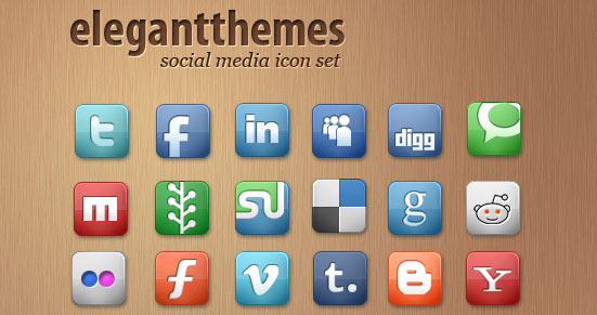 42 Social Media Icons by ElegantThemes