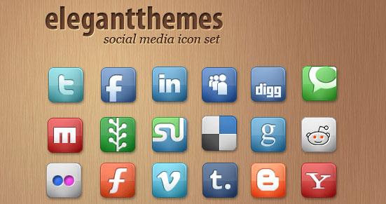 42 Social Media Icons by ElegantThemes
