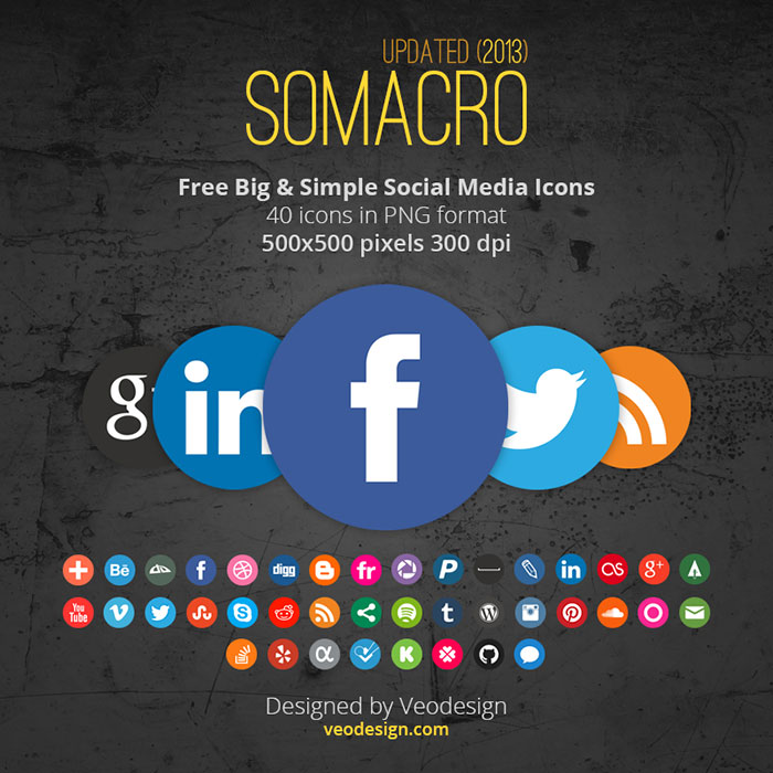 Somacro Big and Simple Social Media Icons