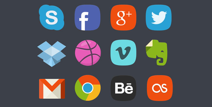 20 Social Media Badges Icons