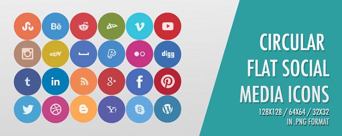 Circular Flat Social Media Drops Icopns Set