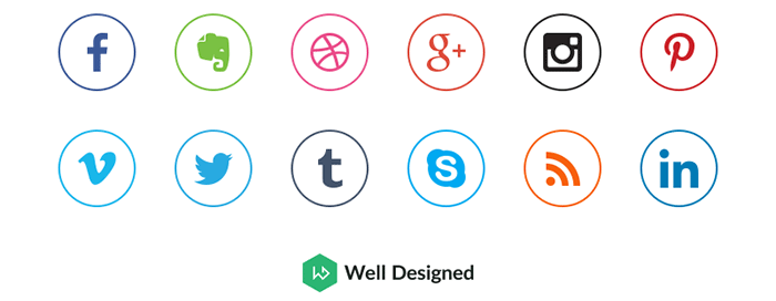 18 Ultra-Clean Circular Social Media Icons