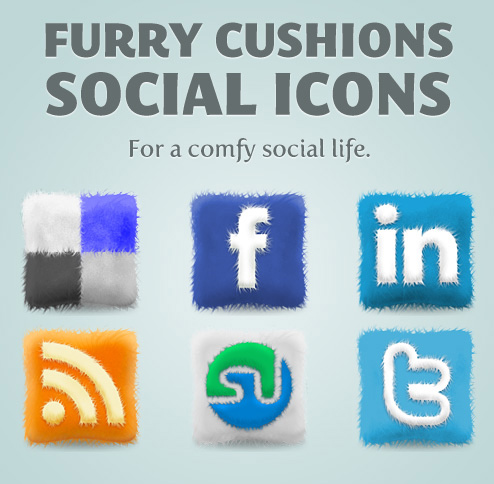 Furry Cushions Social Media Icons Set
