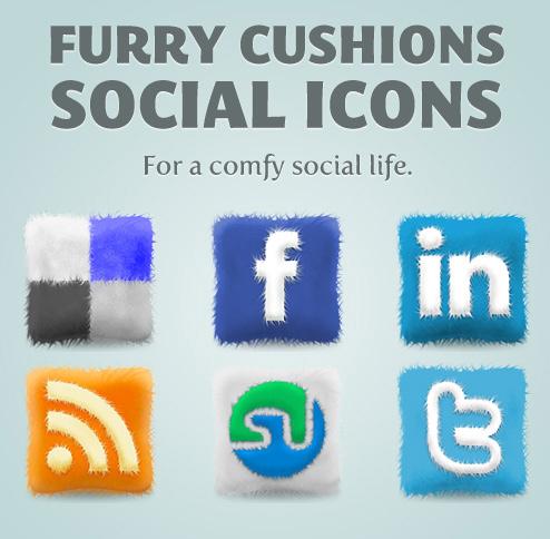 Furry Cushions Social Media Icons Set