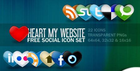 Social Media Hearts Icons