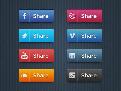 Long Styled Social Media Icons by Hugo from Dribble