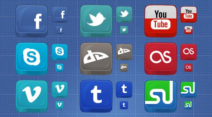 Beveled Social Media Icons