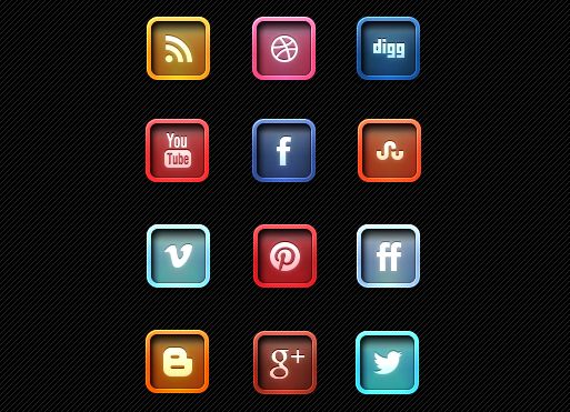 Letter Pressed Social Media Icons