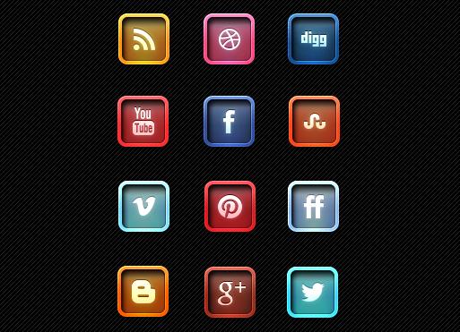 Letter Pressed Social Media Icons