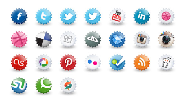 24 Bottle Cap Social Media Icons
