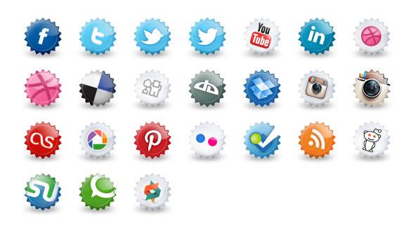 24 Bottle Cap Social Media Icons