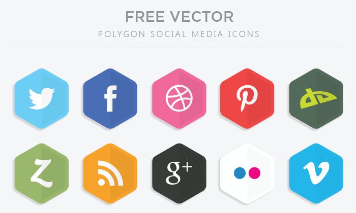 Polygon Vector Social Media Icons