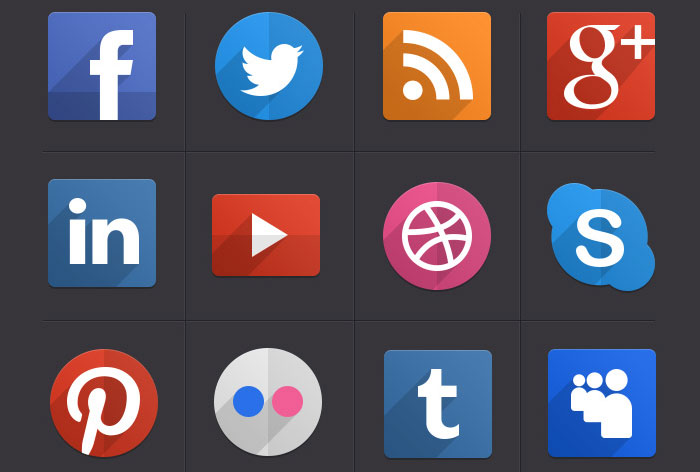 Flat Social Media Icons with Long Shadows