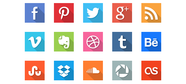 40 Social Media Flat Icons with Long Shadows