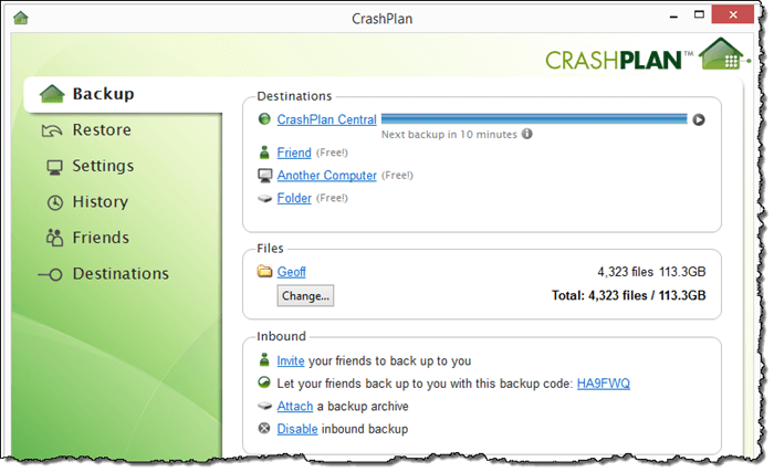 CrashPlan for Windows Interface