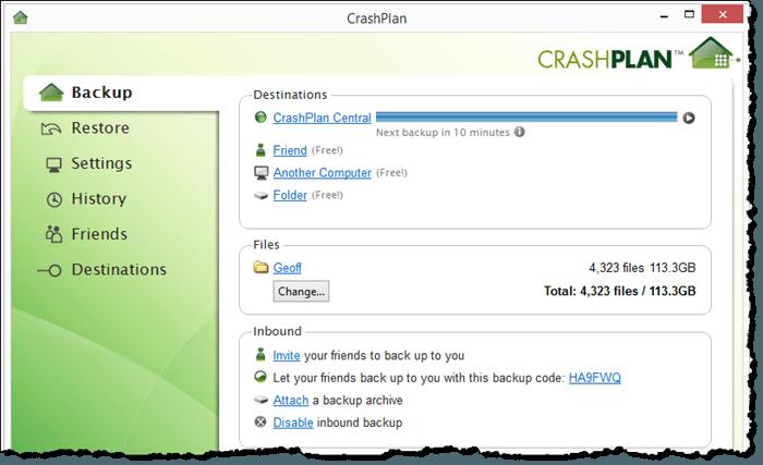 CrashPlan for Windows Interface