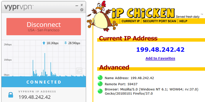 IPAddress Verified with IP Chicken