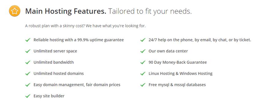 IX Web Hosting Features