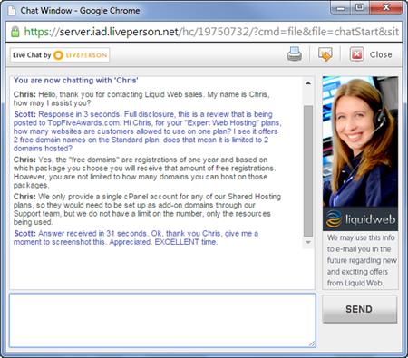 LiquidWeb Live Chat Experiment