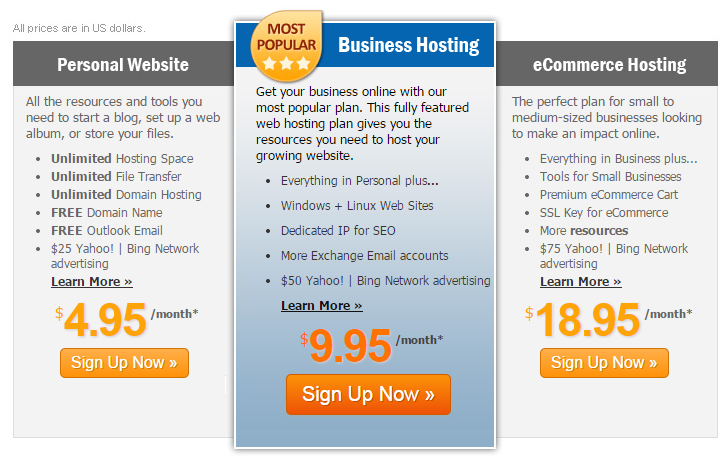 MyHosting Shared Hosting Plans
