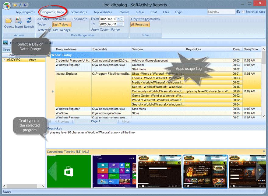 SoftActivity Keylogger Program Usage Report
