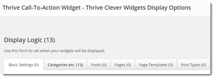 Thrive Widget Display Options