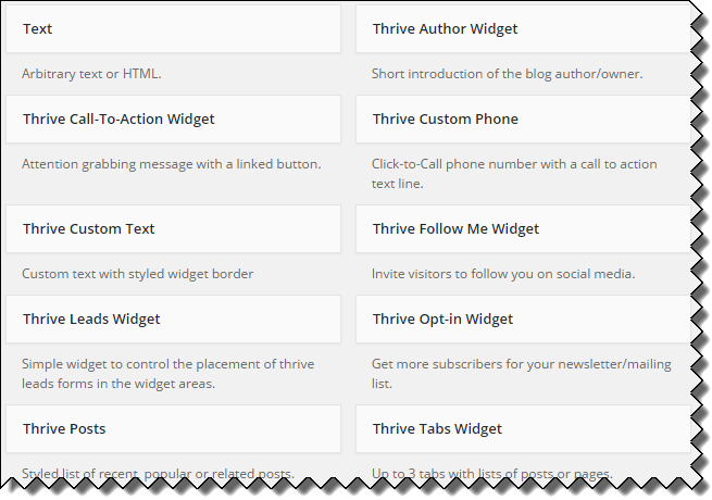 Thrive Widgets
