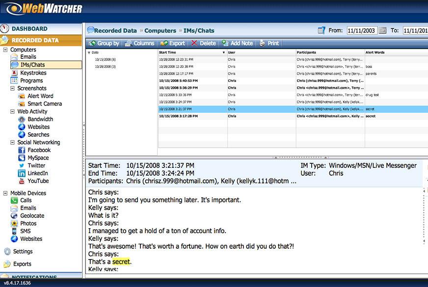 WebWatcher IM Chat Logging