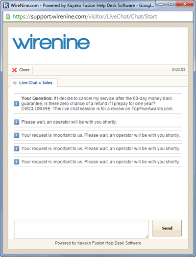 WireNine Live Chat Failure