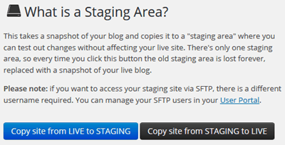 WP Engine Staging Options