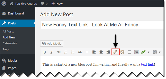 Add a Text Link to WordPress