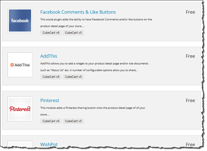 CubeCart Social Media Sharing