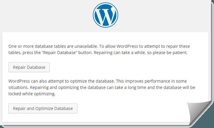 Repair Database Tables in WordPress