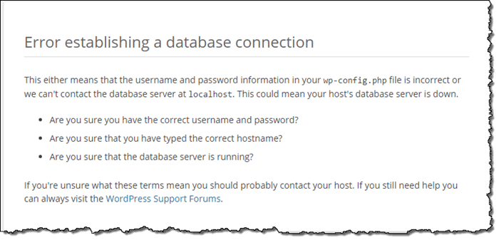 Error Database Connection in wp-admin