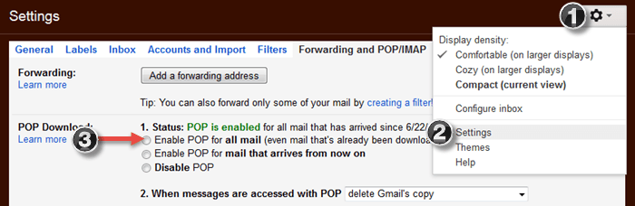 Gmail POP3 Configuration
