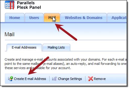Plesk Email Setup
