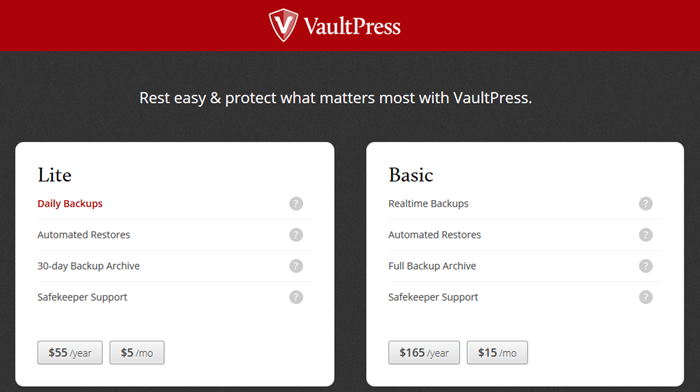 VaultPress WordPress Backup